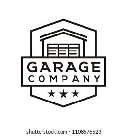 Simple Line Art Garage Badge Logo