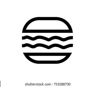 Simple Line Art Hambuger Food Illustration Icon Logo