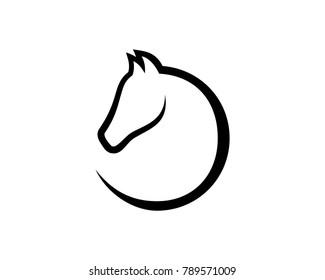 Simple Line Art Head Horse Illustration Symbol Modern Logo Vector