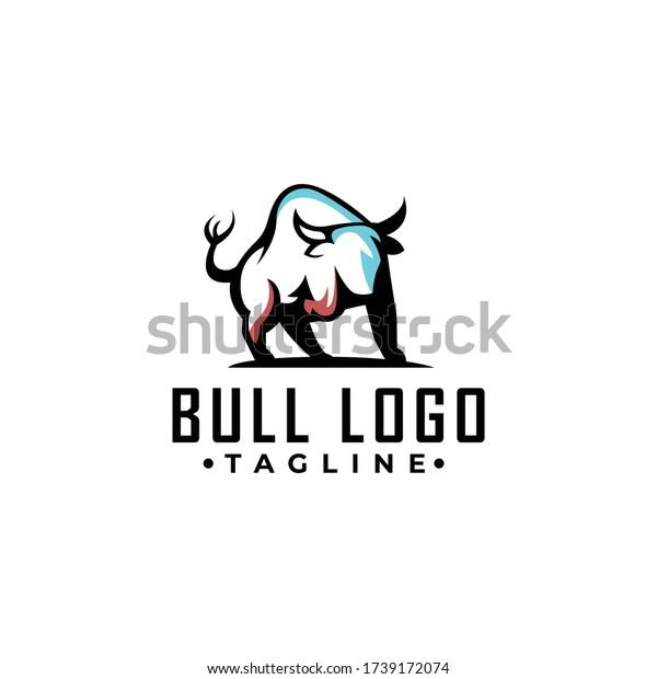 Simple line art strong bull logo design vector template