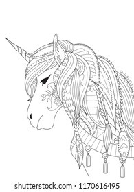 Simple line art of unicorn for design element and coloring book page on app. Vector illustration