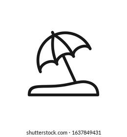 Simple line beach and umbrella icon design vector