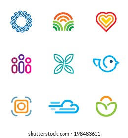 Simple line blog forum community fast download icon logo set