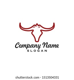 Simple Line Buffalo logo vector icon. bull fight bison with mountain on head face. Silhouette art classic modern look. For cool shirt cloth apparel graphic, game, smart phone app, brand. Quiet, calm