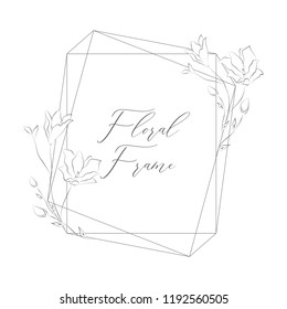 Simple Line Drawing Floristic Frame Border with Delicate Cotton Flowers, Rose, Forget me not, Branches, Plants with Gem Geometric Shape. Decorative Outlined Vector Illustration. Floral Design Element.