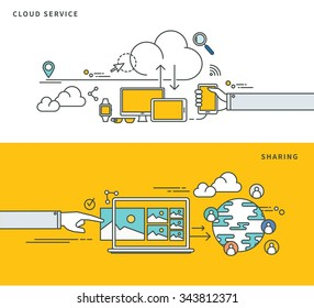 simple line flat design of cloud service & sharing, modern vector illustration