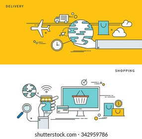 simple line flat design of delivery & shopping, modern vector illustration