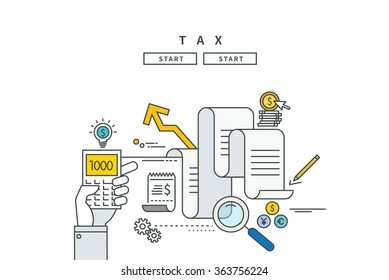 simple line flat design of tax, modern vector illustration