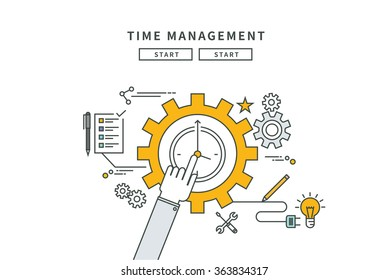 simple line flat design of time management, modern vector illustration
