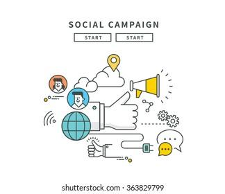simple line flat design of web social campaign, modern vector illustration