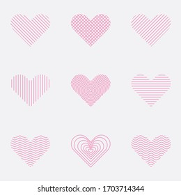 Simple Line Heart Love Logo Icon Set