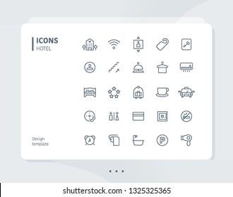 Simple line hotel icon set. flat design style minimal vector illustration