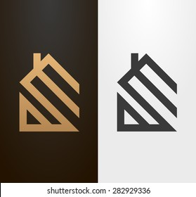 Simple line house logo, icon.