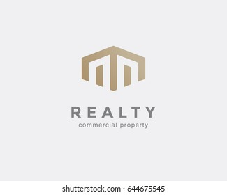 Simple line house symbol, icon. Premium logo design template for Company. Building emblem. Vector illustration.