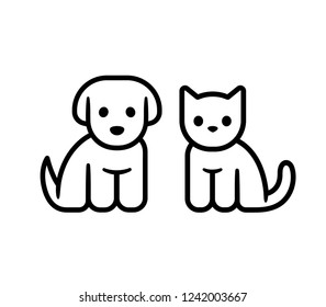 Simple line icon design of puppy and kitten. Cute little cartoon dog and cat vector illustration. Vet or pet shop logo.