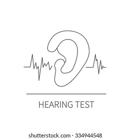 Simple line icon of hearing test. Sound wave going through human ear. Vector illustration in trendy linear design for audiology, weber test, hearing problems, deafness etc.