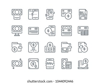 Simple line icon set of Payment Process for website mobile app and more . Pixel perfect icons design , Editable Stroke.