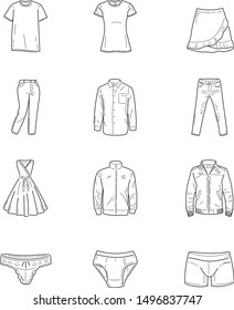 simple line icons on clothing
