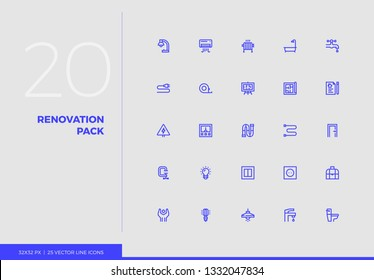 Simple line icons pack of apartment renovation, home repair. Vector pictogram set for mobile phone user interface design, UX infographics, web apps, business presentation. Sign and symbol collection.