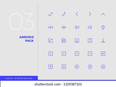 Simple line icons pack of arrows and UI control elements. Vector pictogram set for mobile phone user interface design, UX infographics, web apps, business presentation. Sign and symbol collection.