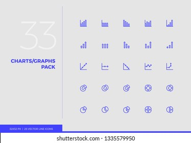 Simple line icons pack of business charts, financial graphs. Vector pictogram set for mobile phone user interface design, UX infographics, web apps, business presentation. Sign and symbol collection.