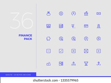 Simple line icons pack of business finance, financial strategy. Vector pictogram set for mobile phone user interface design, UX infographic, web apps, business presentation. Sign and symbol collection