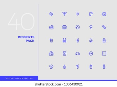 Simple line icons pack of cafe sweets and desserts elements. Vector pictogram set for mobile phone user interface design, UX infographics, web apps, business presentation. Sign and symbol collection.