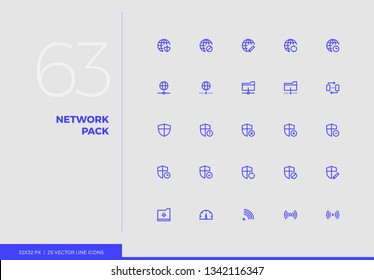 Simple line icons pack of computer network server connection. Vector pictogram set for mobile phone user interface design, UX infographics, web apps, business presentation. Sign and symbol collection.