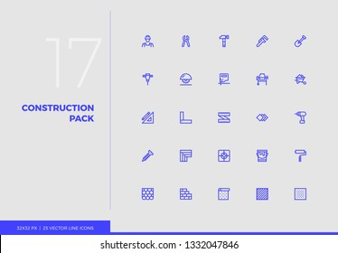 Simple line icons pack of construction tools, work instruments. Vector pictogram set for mobile phone user interface design, UX infographic, web apps, business presentation. Sign and symbol collection