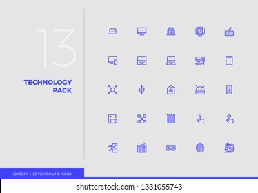 Simple line icons pack of consumer technology devices. Vector pictogram set for mobile phone user interface design, UX infographics, web apps, business presentation. Sign and symbol collection.