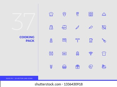 Simple line icons pack of cooking food, restaurant service. Vector pictogram set for mobile phone user interface design, UX infographics, web apps, business presentation. Sign and symbol collection.