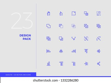 Simple line icons pack of designer tools, creative process. Vector pictogram set for mobile phone user interface design, UX infographics, web apps, business presentation. Sign and symbol collection.