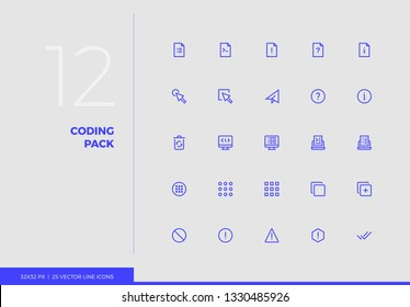 Simple line icons pack of developer tools, web programming. Vector pictogram set for mobile phone user interface design, UX infographics, web apps, business presentation. Sign and symbol collection.