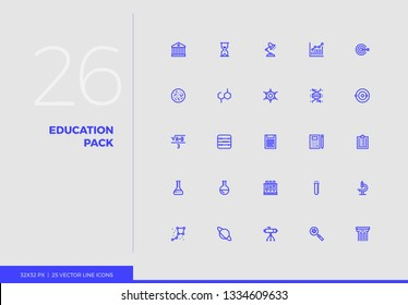 Simple line icons pack of education progress, study method. Vector pictogram set for mobile phone user interface design, UX infographics, web apps, business presentation. Sign and symbol collection.