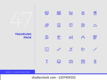 Simple line icons pack of family vacation trip, hotel services. Vector pictogram set for mobile phone user interface design, UX infographic, web apps, business presentation. Sign and symbol collection