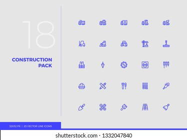 Simple line icons pack of heavy construction industry transport. Vector pictogram set for mobile phone user interface design, UX infographic, web app, business presentation. Sign and symbol collection