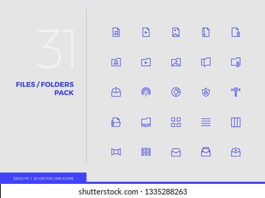 Simple line icons pack of multimedia files system management. Vector pictogram set for mobile phone user interface design, UX infographics, web apps, business presentation. Sign and symbol collection.