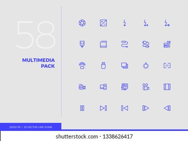Simple line icons pack of photography equipment, video elements. Vector pictogram set for mobile phone user interface design, UX infographic, web app, business presentation. Sign and symbol collection