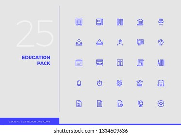 Simple line icons pack of school education, study process. Vector pictogram set for mobile phone user interface design, UX infographics, web apps, business presentation. Sign and symbol collection.