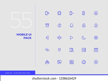 Simple line icons pack of smartphone user interface control. Vector pictogram set for mobile phone user interface design, UX infographics, web apps, business presentation. Sign and symbol collection.