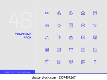 Simple line icons pack of tourist vacation trip, hotel services. Vector pictogram set for mobile phone user interface design, UX infographic, web app, business presentation. Sign and symbol collection
