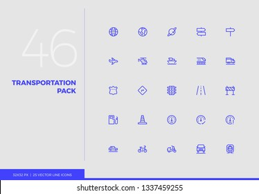 Simple line icons pack of transportation vehicles, road traffic. Vector pictogram set for mobile phone user interface design, UX infographic, web app, business presentation. Sign and symbol collection