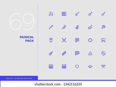 Simple line icons pack of various classical musical instruments. Vector pictogram set for mobile phone user interface design, UX infographic, web app, business presentation. Sign and symbol collection