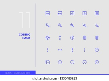 Simple line icons pack of website development key tools. Vector pictogram set for mobile phone user interface design, UX infographics, web apps, business presentation. Sign and symbol collection.