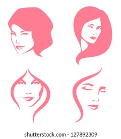 simple line illustration of beautiful women suitable for hair care or beauty salon