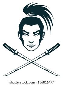 simple line illustration of a samurai warrior and crossed katana swords