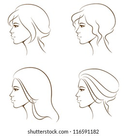 simple line illustrations of a beautiful woman face from profile, with various hair styles