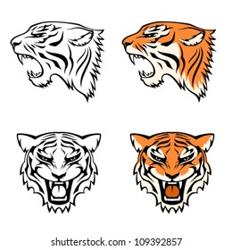 simple line illustrations of tiger head from profile and front view, suitable as tattoo or team mascot