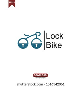 Simple line lock bike concept logo vector template design