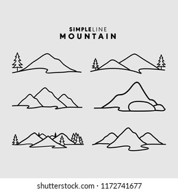 Simple Line Mountains logos vector template.